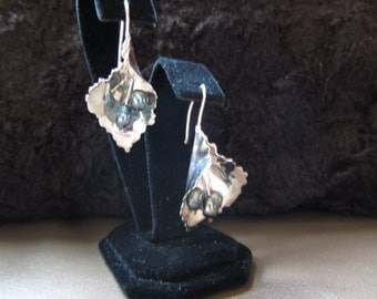 SS Calla Lily Freshwater Pearl Earrings