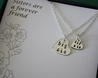 2 Sisters Necklaces, Big Sister Personalized Necklace, Sisters Necklace, Little Sister Necklace, Little Sis