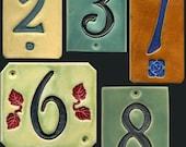 Handcrafted Single Digit Ceramic House Number Tile Address Plaque Craftsman Style