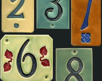Handcrafted Single Digit Ceramic House Number Tile Address Plaque Craftsman Style