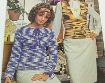 Vintage women shirt tops vest knitting crochet pattern book Gals in nantuck ombre by Comlumbia Minerva leaflet no 2546