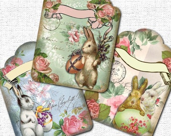 Easter Tags Vintage Bunny Printable Instant Download
