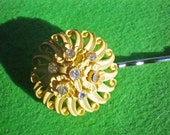 Sun Burst Yellow Rhinestone Vintage Earring Hair Pin - SALE