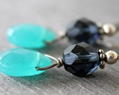 Sea Drops - faceted glass earrings in cool blues