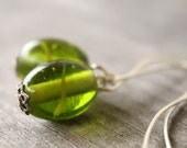 Lime Candy glass earrings
