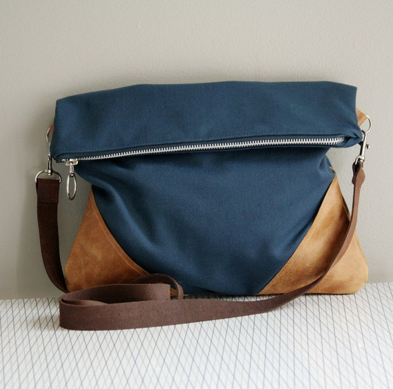 Navy Purse Hip Bag Fold Over Clutch