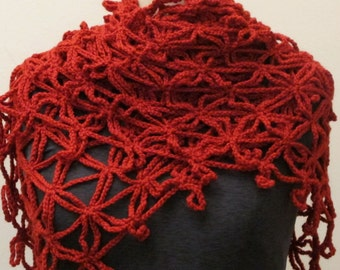 FREE SHIPPING for Mothers Day Red Crochet  Shawl Scarf Neckwarmer