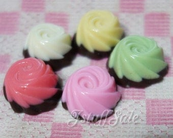 Swirl chocolate cabochons 5 pcs mixed color set (100A)