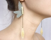 Lace earrings - Pendulum - Black or white or iridescent mint, with bronze