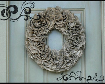 Cottage Chic  Burlap Wreath  for all Seasons