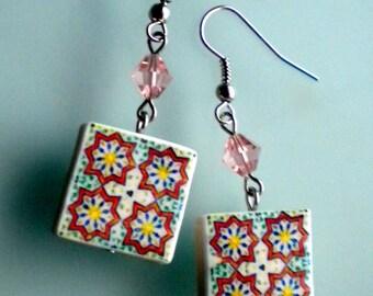 Portugal  Antique Azulejo Tile Replica Earrings,  Ilhavo,  Geometric - waterproof and reversible 637