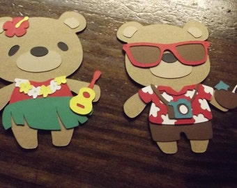 Teddy Bear die cuts- Hula girl and Hawaiin boy