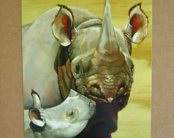 Africa,Rhino,Mother,Baby, Print from Original Oil Painting