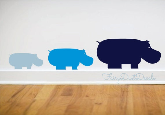Hippo Wall Decal set of 3 - zoo animal wall decals - baby boy baby girl nursery wall decor - hippo wall sticker - animal wall decor - hippo