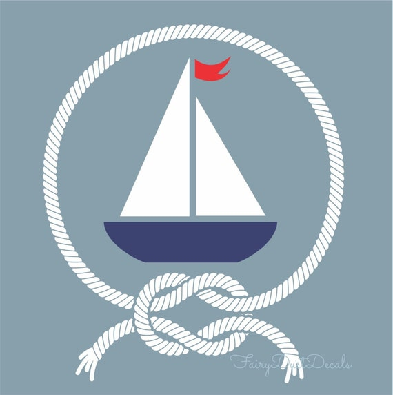 Nautical Rope Decor Items: Items Similar To Sailboat Wall Decal With Nautical Knotted
