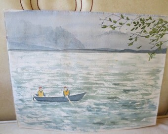 Vintage Watercolor 11 x 8.5 Fishing in a Lake Mountains Country Cabin Decor original Painting