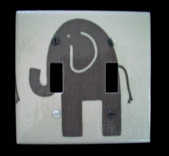 Double Light Switch Cover Grey Gray Elephant Premier Prints