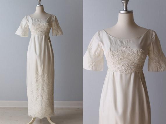 Vintage 1960s wedding dress 60s bridal gown lace sheath for Lace sheath wedding dress vintage