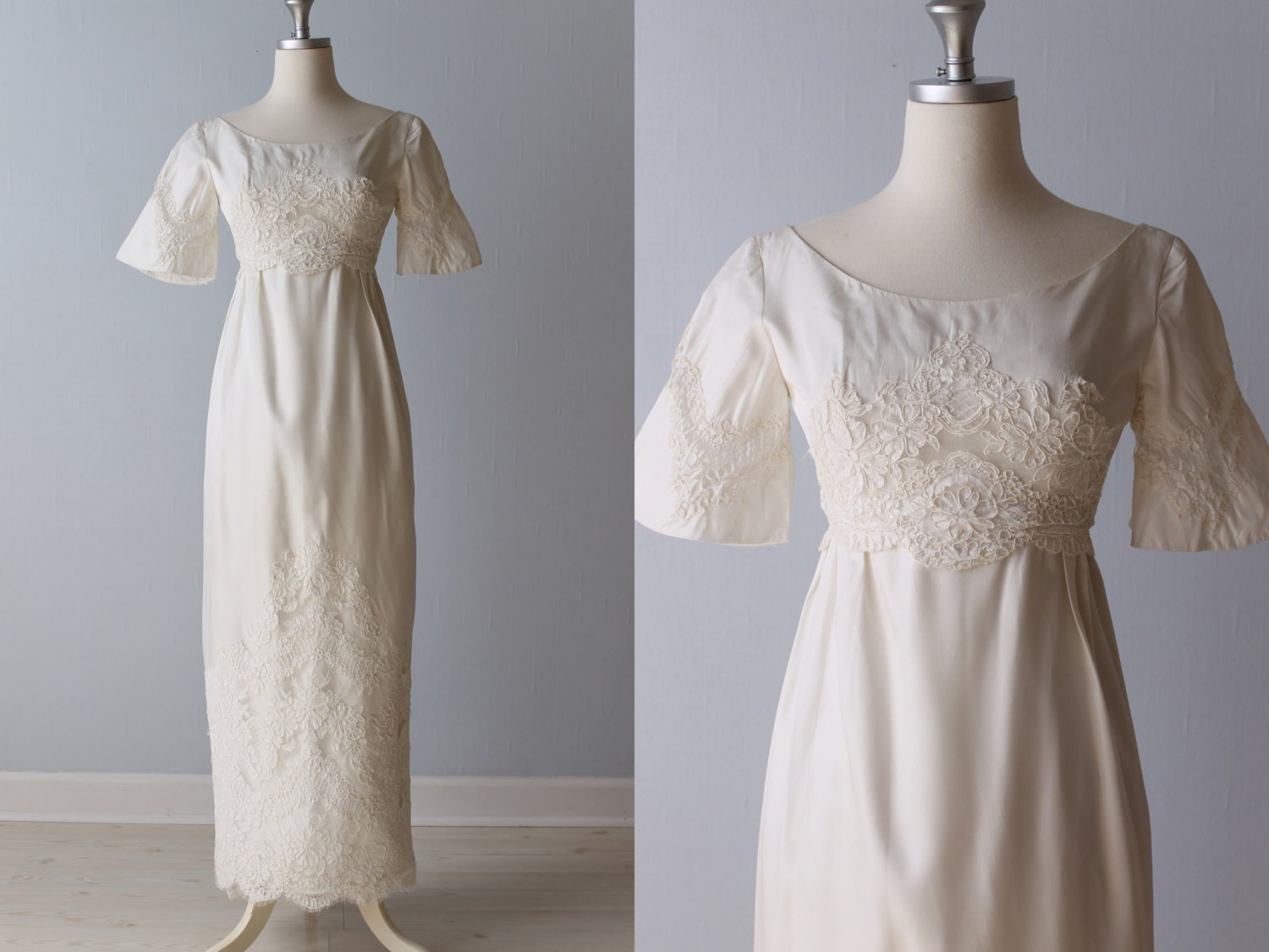 Vintage 1960s wedding dress 60s bridal gown lace sheath for 1960 style wedding dresses