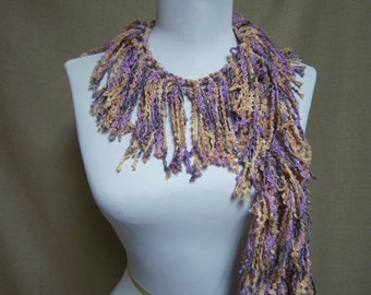 Fringe Binge Fringe Scarf Necklace Purple, Lavender,  Gold Ready to Ship Infinity Scarf Knotted Circle Scarf Crochet Shredded Multicolor