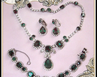 REDUCED Designer Kramer of New York Green Rhinestone Necklace, Bracelet, Earrings- Wedding