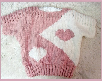 Valentine Heart Pullover  Knitting Pattern  Tween to Teen from Ages 8 to Teen Sizes
