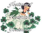 Vintage Digital Download Irish Girl Shamrock St. Patrick Vintage Image Collage Large JPG Clipart