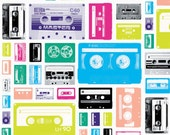Geekly Chic Cassettes Fabric White Riley Blake 1 yard 20 inches LAST