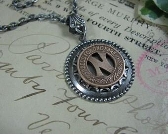 Transit Token Jewelry - Denton Bus Lines Transit Token Medallion Pendant Necklace - Denton Texas - Initial N