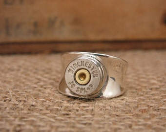 Bullet Jewelry - STERLING SILVER Wide Band Bullet Casing Ring - Gun Jewelry - SureShot Bullet Designs