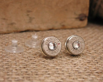Bullet Jewelry - Silver 38 Special Bullet Casing Stud Earrings - Bezel Set for Quality - Diamonds - April Birthstone - Other Crystal Options