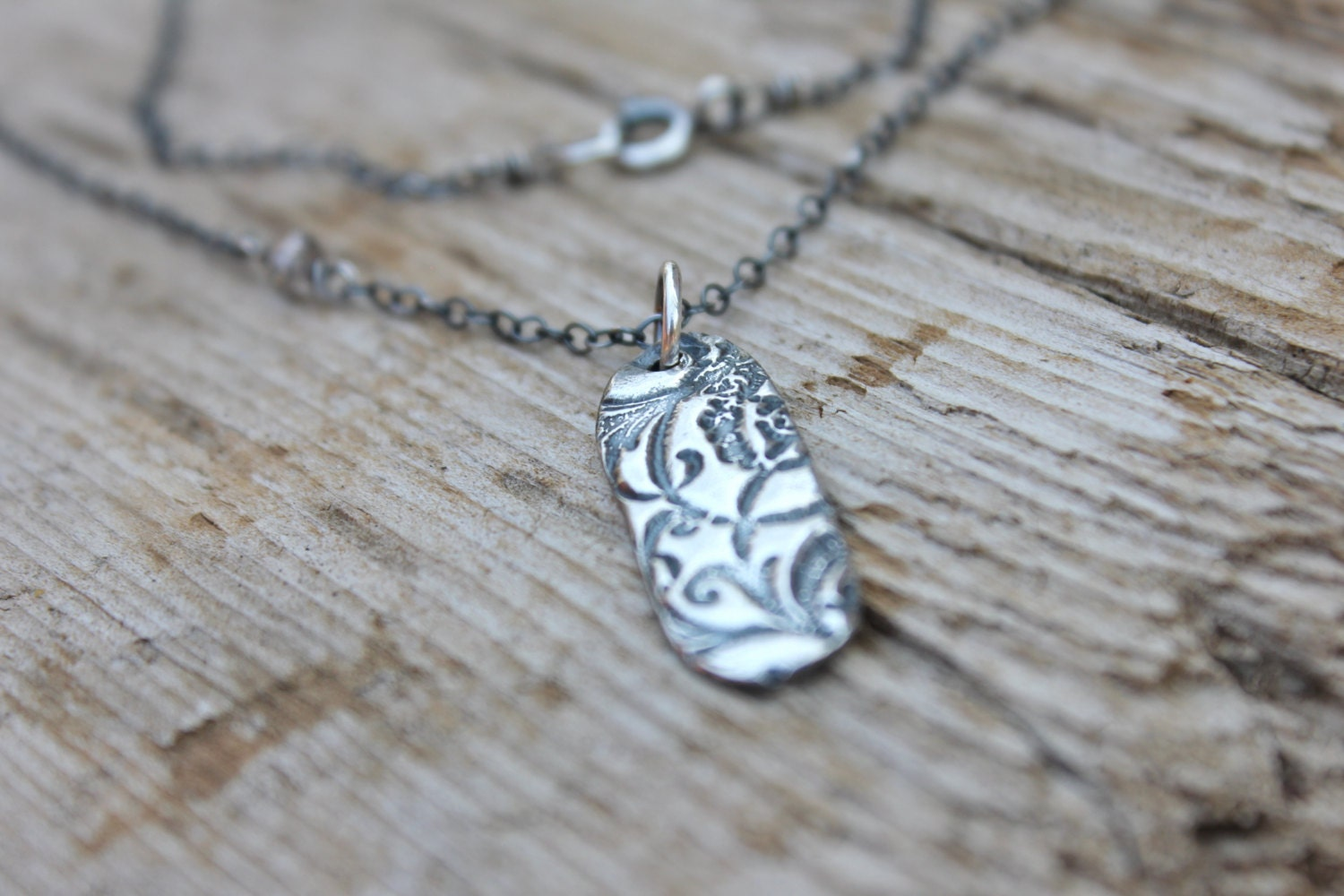 Sterling Silver Quote Necklace . Talisman Charm By