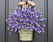 Purple Lavender Bouquet for Door - Artificial Lavender Bucket