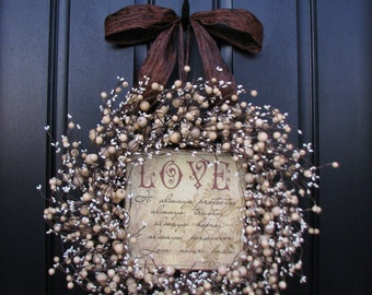 Personalized Gifts, Wreaths,Champagne,Berry Wreath,Vintage Inspired Decor,Love,Front Door,Personalized Decor,Wedding Decorations