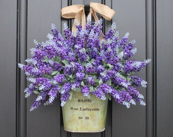 Purple Lavender Bouquet for Door - Artificial Lavender Bucket
