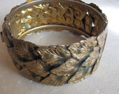 A Vintage Gilt Brass Cuff in Gold Leaves