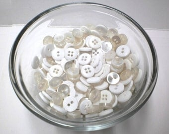 Buttons White 70-100 Lot, Summer Sewing for Bracelet Charms Jewelry Vintage Shiny Buttons 2-4 Hole NOS Upcycle Supplies