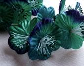 Emerald & Sapphire Satin Millinery Flower YoYos in for Bridal, Headbands, Fascinators, Floral Supply MF 84