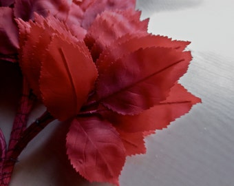 36 RED Leaves Silk Millinery Vintage German for Bridal, Floral Design, Hats, Fascinators ML 91