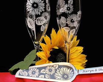 Sunflower Wedding Cake Server and Knife & Champagne Flute Set, Personalized Summer Wedding Gift