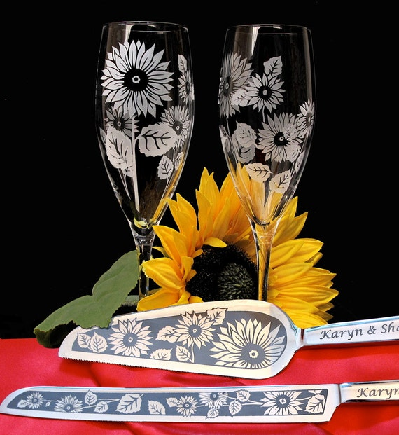 Sunflower Wedding Cake Server and Knife & Champagne Flute Set, Personalized Set