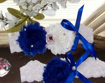 Sale Cobalt Blue Wedding,Royal Blue Wedding,Bridal Garter,Wedding.Wedding Garter Set,Something Blue