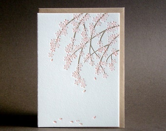 Cherry Blossom Letterpress Greeting Card