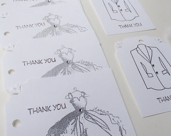Fancy Dress and Tuxedo Thank You Tags- Set of 6