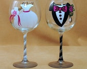 Tuxedo and Wedding Gown Hand Painted Bride and Groom Wine Glasses