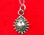 SH4 Taos Sacred Heart Sterling Silver Southwestern Native Style Pendant or Charm