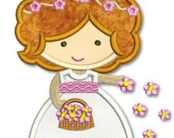 FLOWER GIRL Cutie Applique 4x4 5x7 6x10 svg  Machine Embroidery Design wedding INSTANT Download