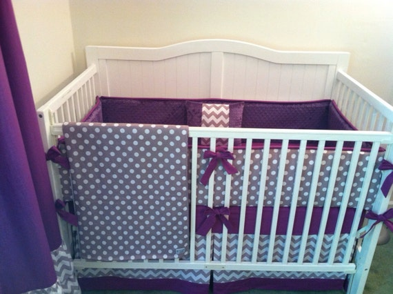 deposit modern gray and purple crib bedding by butterbeansboutique. Black Bedroom Furniture Sets. Home Design Ideas