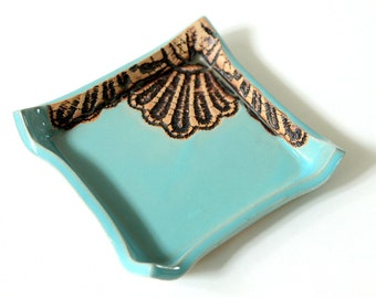 Handmade Moroccan Lace Square Dish for Change, Jewelry, of Candle Holder in Turquoise