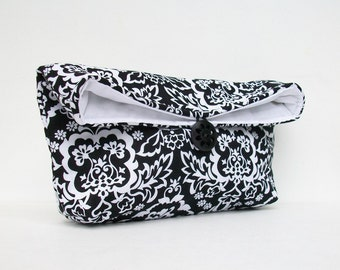 Black and White Clutch, Black Clutch, Damask Clutch, Bridesmaid Gift, Bridesmaid Clutch, Makeup Bag, Wedding Accessory, Bridal Accessory